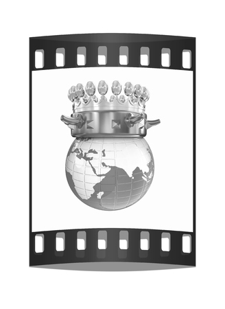 jeweled: Gold crown on earth isolated on white background. The film strip