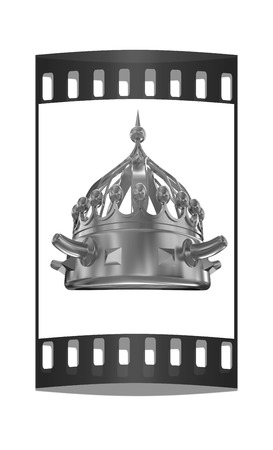 luxuriance: Gold crown isolated on white background. The film strip