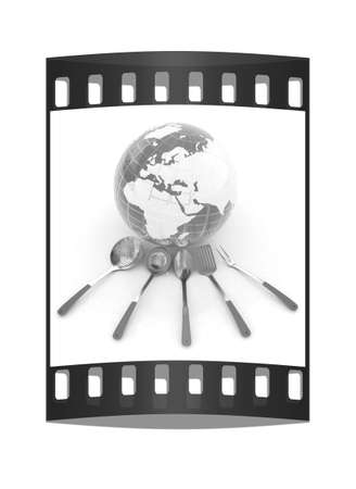 sizzle: cutlery on white background around Earth. The film strip