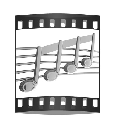 3d music: 3D music note on stave on a white. The film strip