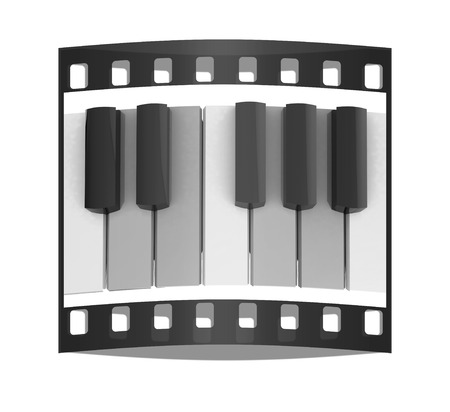 octave: Colorfull piano keys on a white background. The film strip