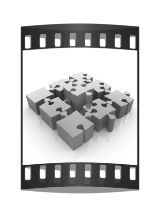 jig saw: Colorful Jigsaw Puzzle. The film strip