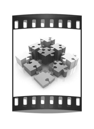 four elements: Puzzle de los cuatro elementos. Imagen conceptual - una paleta CMYK. La tira de pel�cula
