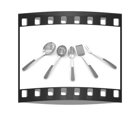 stainless steel kitchen: cutlery on white background. The film strip