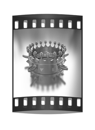 luxuriance: Gold crown isolated on gold background. The film strip