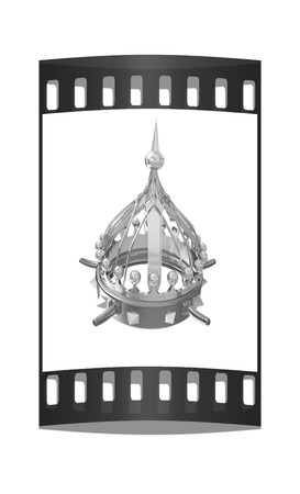 jeweled: Gold crown isolated on white background. The film strip