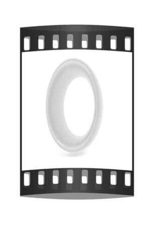 number zero: Glossy 3d number zero. The film strip