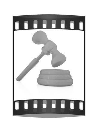 criminal case: Wooden gavel isolated on white background. The film strip
