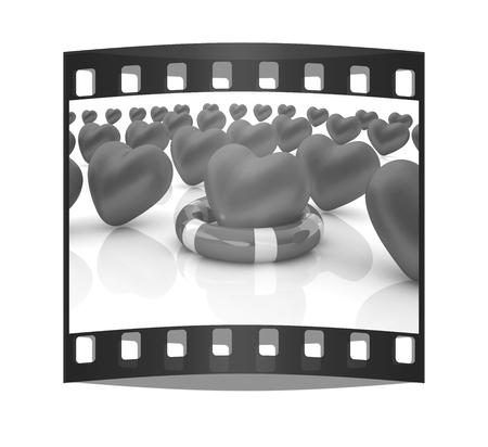 lifesaving: Hearts and life belt. Concept of life-saving. The film strip Stock Photo