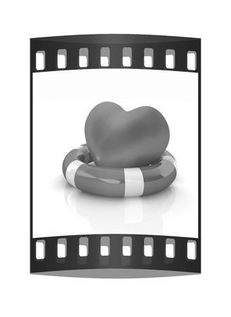 salvavidas: Corazón y cinta vida. Concepto de salvar la vida. La tira de película