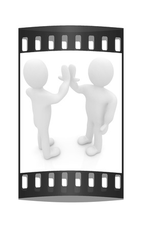 front raise: 3d man isolated on white. Series: human emotions - five between two persons that celebrate a success. The film strip Stock Photo