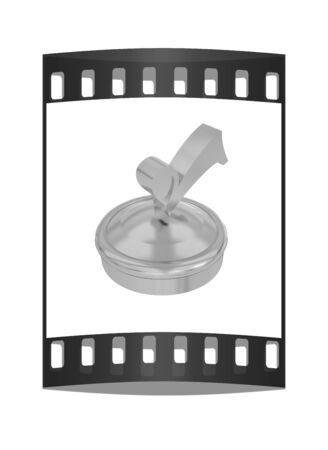 illustration of gold checkmark on isolated background. The film strip illustration