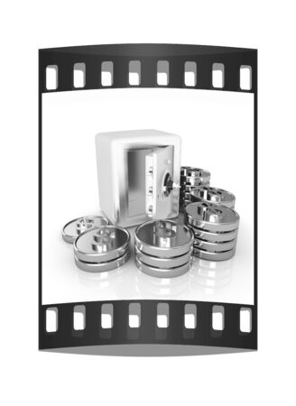 bank vault: open a bank vault with a bunch of gold coins. isolated on white. The film strip Stock Photo
