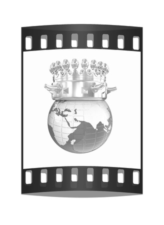 luxuriance: Fantastic crown on earth isolated on white background. The film strip