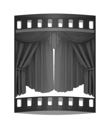 performing arts event: Red curtains isolated on a white background. The film strip