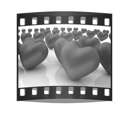 individualist: One red heart standing out in crowd. The film strip