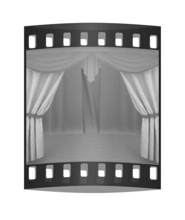 velvet rope: Colorfull curtains and wooden scene floor. The film strip