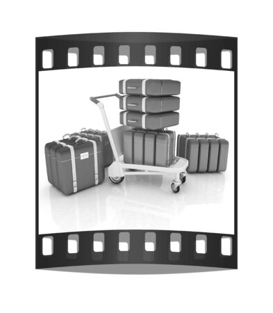 Trolley for luggage at the airport and luggage. The film strip