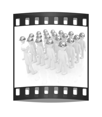 hard hat: 3d mans in a hard hat on a white background. The film strip