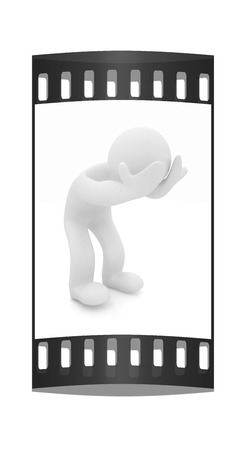 emotional pain: 3d personage with hands on face on white background. Starting series: human emotions. The film strip