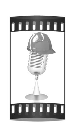hard hat: New 3d concept of technology education with microphone and hard hat. The film strip