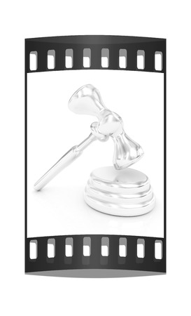 prosecutor: Metall gavel isolated on white background. The film strip