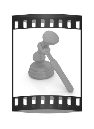 prosecutor: Wooden gavel isolated on white background. The film strip