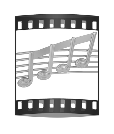 3d music: 3D music note on staves on a white. The film strip