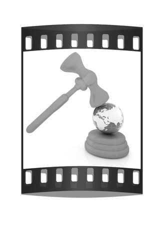 arbitrate: Wooden gavel and earth isolated on white background. Global auction concept. The film strip Stock Photo