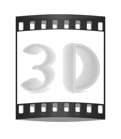 stereoscopic: 3D text. The film strip Stock Photo