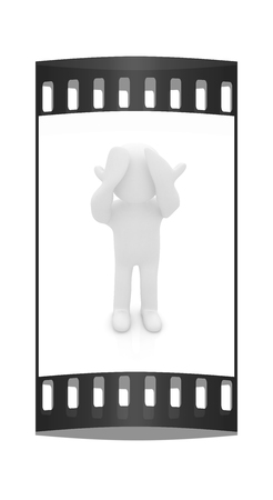 sullen: 3d personage with hands on face on white background. Series: human emotions. The film strip
