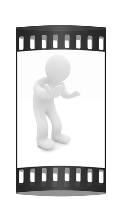 discouraged: 3d man isolated on white. Series: human emotions - bewilderment and disappointment. The film strip