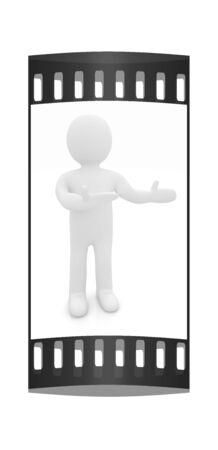 happy 3d: Happy 3d business man showing copy space, isolated on white. The film strip
