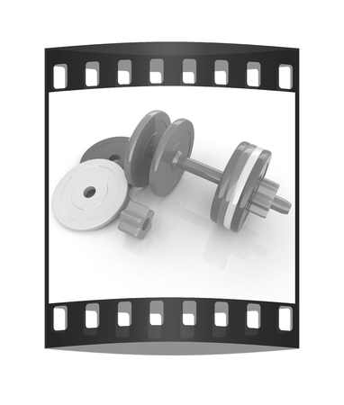 disassembly: Colorful dumbbells are assembly and disassembly on a white background. The film strip