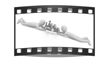 life ring: Mans with life ring. 3d rendered illustration. The film strip