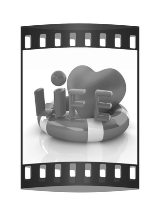 life belt: Heart and life belt. Concept of life-saving. The film strip Stock Photo
