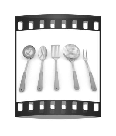 stainless steel kitchen: gold cutlery on white background. The film strip