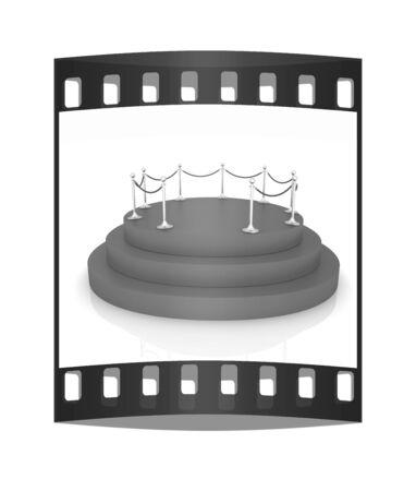 stanchion: podium 3d. The film strip Stock Photo