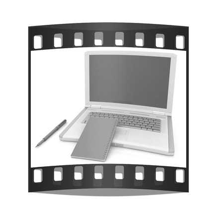 powerbook: laptop and notepad on a white background. The film strip