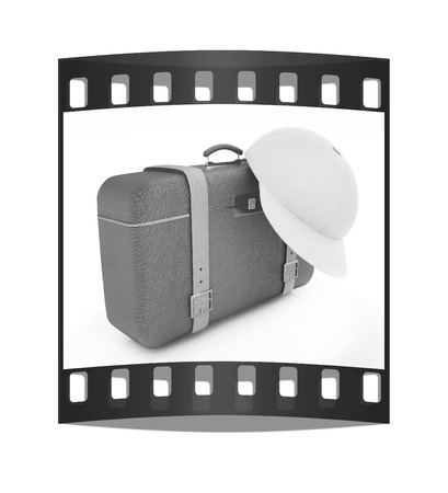Brown travelers suitcase and peaked cap on a white background. The film strip