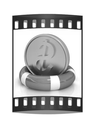 flotation: Coin dollar on  lifeline.The best 3d illustration on a white background. The film strip Stock Photo