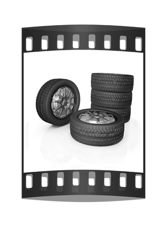 traction: car wheel illustration on white background. The film strip