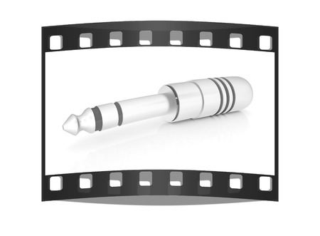 Electric plug on a white background. The film strip photo