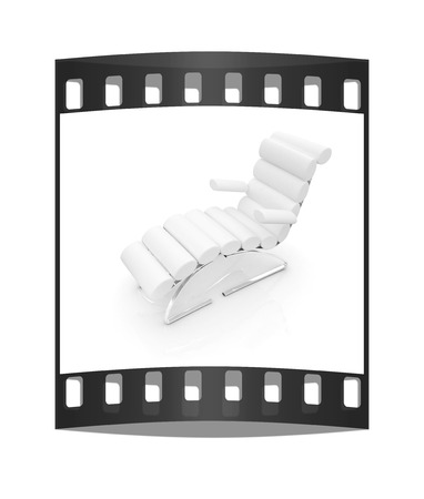 chaise: Comfortable white Sun Bed on white background. The film strip