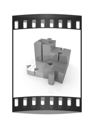 Puzzle. The concept of growth on a white background. The film strip Stock Photo