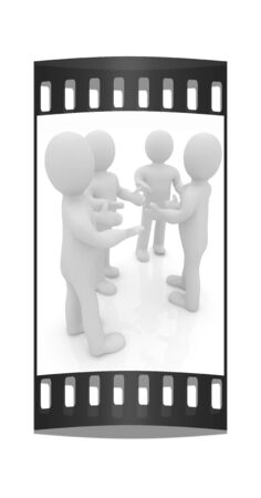 outstretched hand: 3d man. Discussion on a white background. The film strip