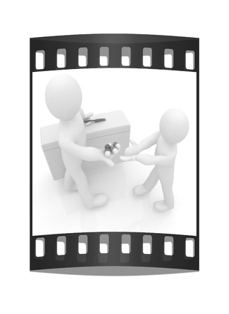 doctor giving pills: Doctor giving pills on a white background. The film strip