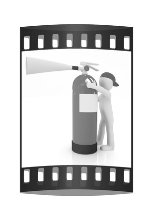 3d man: 3d man with red fire extinguisher on a white background. The film strip