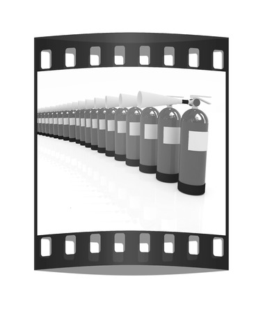 extinguishers: Red fire extinguishers on a white background. The film strip