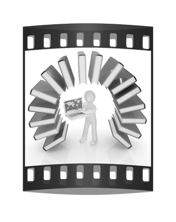 living wisdom: Colorful books like the rainbow and 3d man with laptop on a white background. The film strip